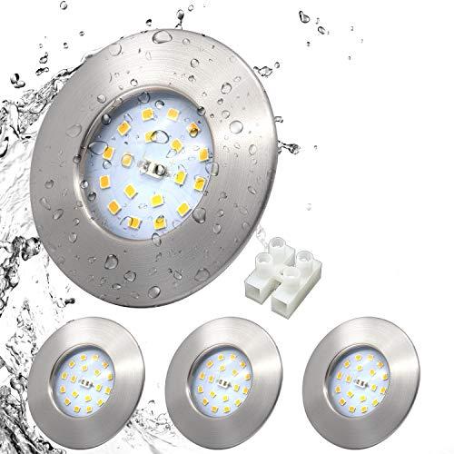 LED Einbauleuchte set ultra Flach IP44 Badeinbaustrahler Rund Matt Nickel Deckenstrahler Inkl. 4 x 5W 500lm LED Modul Bad Einbauspot Deckenspot Warmweiß