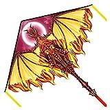 Lzpzz Cometas divertidas, cometas para niños, fáciles de volar, con deportes al aire libre, dragón, cometa brisa (color oro)