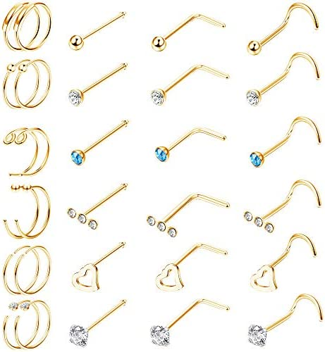 Finrezio 30PCS 20G Surgical Steel Nose Rings C Shaped Nose Ring Screw L Shaped Hoop Nose Stud product image