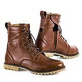 SHIMA Thomson, Zapatos Moto Hombre | Reforzados Zapatos Moto de Cuero, Soporte para el tobillo, Suela Antideslizante, Mango de Cambio de Marchas (Marrón, 43)