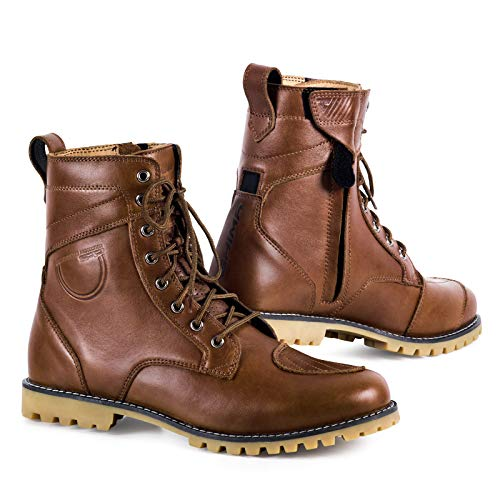 SHIMA Thomson, Zapatos Moto Hombre | Reforzados Zapatos Moto de Cuero, Soporte para el Tobillo, Suela Antideslizante, Mango de Cambio de Marchas (Marrón, 46)