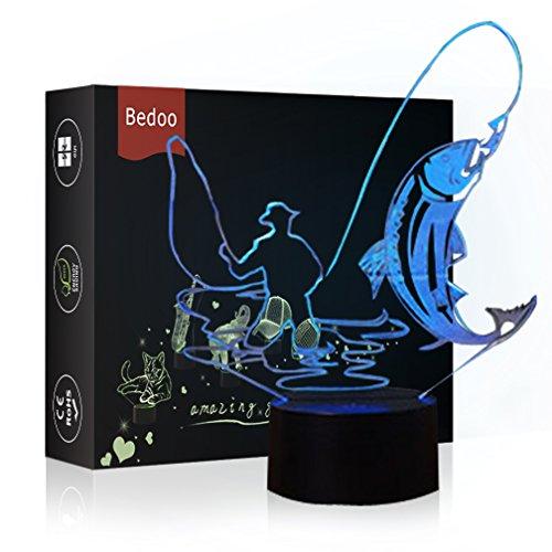 HeXie LED Nacht Lichter 3D Illusion Nachttisch Lampe 7 Farben ändern Schlafen Beleuchtung Smart Touch Button Nette Geschenk Warming präsentieren kreative Dekoration perfekte Kunst Handwerk (Angeln)
