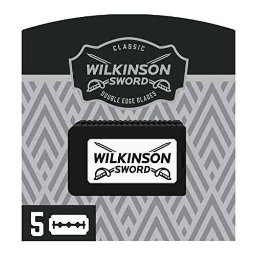 Wilkinson Sword Classic PREMIUM - Recambios de 5 Hojas de Cuchillas de Afeitar para Hombres, Afeitado Clásico Masculino, Doble Filo