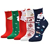 🎄Imported. Material:Polyester.Package Content:5 Pair Socks. Soft, comfortable, breathable, wearable, moisture-wicking and odor-fighting.🎄Colorful Patterned Low Cut/No Show Socks,Christmas Santa Elk Printing Medium Sports Socks. 🎄Brighten up your Holi...