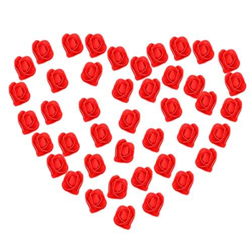 Rosenblütenköpfe, 50 Stück Künstliche Schaumrosen Perfekt für Hochzeitsdekorationen Party Home Deko (Rot, 3,5 cm/ 1,37 zoll)