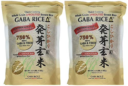 Koshihikari Premium Sprouted Brown Gaba Rice 22 Pound Pack of 4