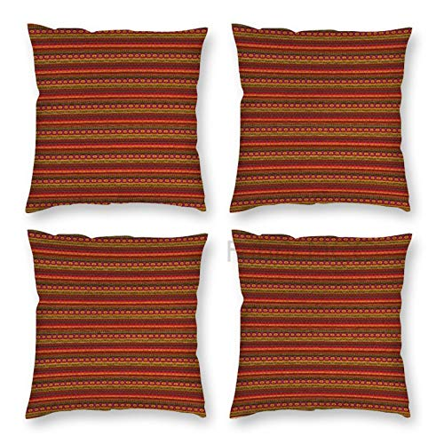 Pillow Covers 18 x 18 Inch Set of 4, Aztec South American Abstract Borders Mexican Peruvian Folk Art Elements Boho Doodle Print Decorative Throw Pillow Case Cushion Cover for Sofa Couch Sofa Home