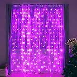 ADLOASHLOU 300 LED Cortina de Luces Solar 9,8 x Pies, 8 Modos Cadena de Luz Resistente al Agua, Led Luces Decorativas Guirnalda de Luces de Cadena Decoración de Navidad, Fiestas, Bodas, jardín Purple