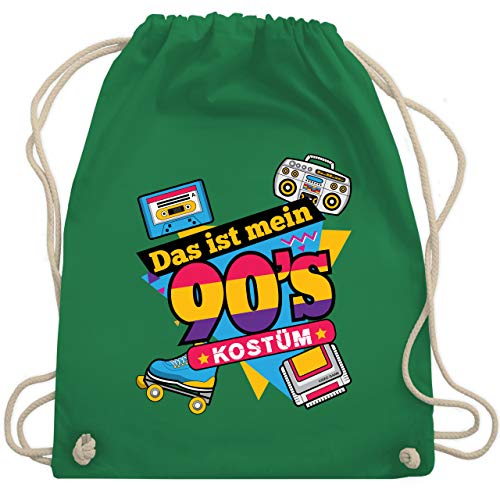 Shirtracer Karneval & Fasching - Das ist mein 90er Jahre Kostüm - Unisize - Grün - 90er beutel - WM110 - Turnbeutel und Stoffbeutel aus Baumwolle