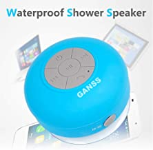GANSS Waterproof Bluetooth Shower Speaker,New Pool Wireless Portable Speakers with Suction Cup Handsfree, Up to 4-Hour Playtime, Built-in Microphone for Calls for iPhone, iPod, iPad, Samsung(Blue)