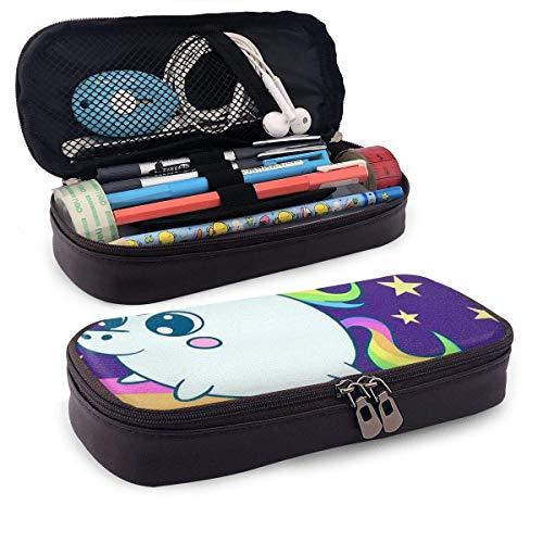 Pu Leather Pencil Case Niedliches Uniocrn Leder 3D Nano PrinTed Pencil Case Pouch Reißverschluss Cute Pen Pencil Case Box, Schreibwarenbox mit großer Kapazität
