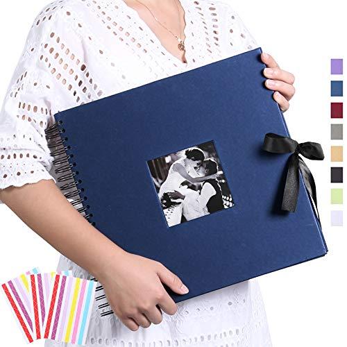 Álbum de Fotos de Bricolaje 30 x 30 cm Libro de Fotos de Bricolaje 80 Páginas Libro de Recortes Negro para 220 Fotos de 10 x 15 Libro de Visitas Aniversario Boda Día de San Valentín