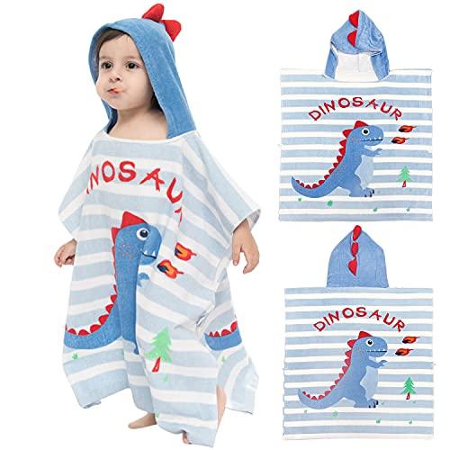 Toalla con Capucha de Playa para Niños Capucha Poncho Toalla Niño Puro Algodón Linda Caricatura Baño Playa Nadar Adecuado para Niños y Niñas, Azul Dinosaurio
