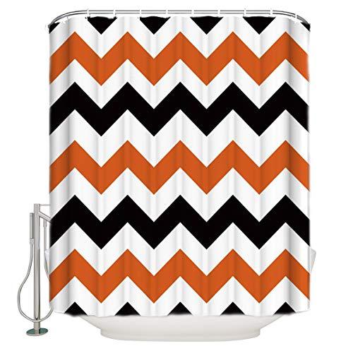 Black Orange Chevron Waterfree Bathroom Fabric Shower Curtain