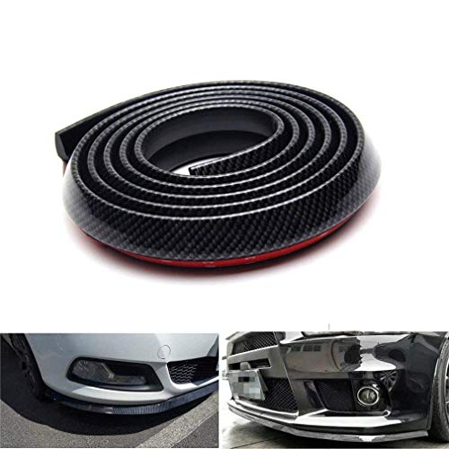 Lypumso Selbstklebend Frontspoilerlippe, 2.5M Universal Tuning Frontspoiler Protector aus Kohlefaser für Auto PKW Kfz (Black)