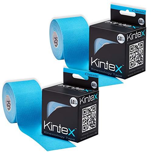 Kintex Blau 2 Rollen Kinesiologie Classic 5cm x5m, Physio, Therapie-Tape, 5m x