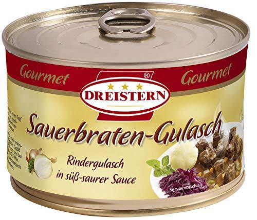 DREISTERN Sauerbraten Gulasch - leckeres Gulasch in der praktischen recycelbaren Konserve, 400 gramm