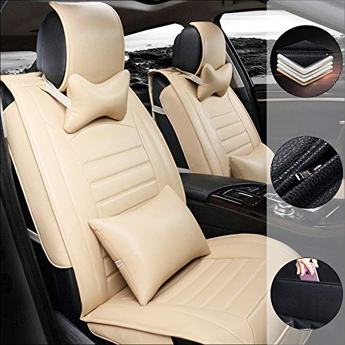 Car Seat Cover For F ord Escort 5-Seats Protection Soft Waterproof Full Set PU Leather Car Front+Rear Seat Pads Beige 9PCS