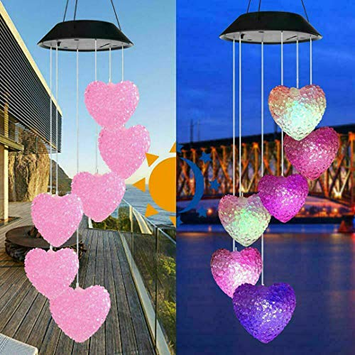Solar Powered Color Changing LED Wind Chimes Home Garden Yard Decor Light Lamp (Heart)