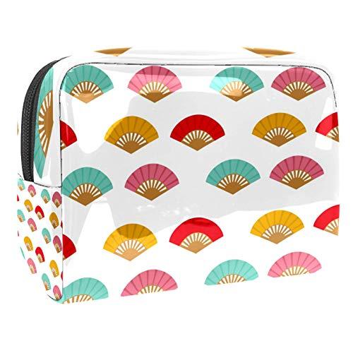 Bolsa de Maquillaje de Viaje Ventilador Azul Rojo Bolsa de cosméticos Organizador Impermeable Bolso Monedero para Mujeres y niñas 18.5x7.5x13cm