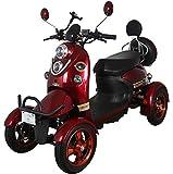 Nuevo scooter eléctrico estilo retro de 4 ruedas extra estabilidad para minusválidos y personas mayores hasta 25 km/h motor de 800 watt 60V 100AH Rojo Green Power