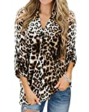 YOINS - Camisa de manga larga para mujer, con cuello de pico, estilo clásico, informal, diseño a cuadros, blusa para mujer