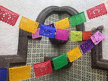 Mexican Fiesta Decorations  5 Pack  46 Feet Mexican Papel Picado Banner Paper Papel Picado Mexicano Tissue Paper Garland Paper Garland Decorations Mexican Fiesta Party Decorations