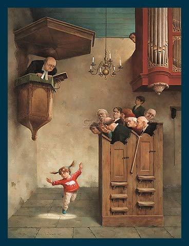 Art-Galerie Bild mit Rahmen Marius Van Dokkum - Dancing in The Church - Holz blau - 30 x 40cm - Premiumqualität - Made in Germany