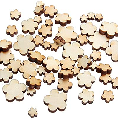 yuhoshop Mini Mixed Small Wooden Embellishments - Scrapbooking Shapes for Craft Decor Button, 0.5, 0.75, 1, 1.25 & 1.5 cm