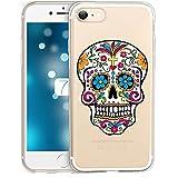 Coque Iphone 7 Plus Tete de Mort Mexicaine Calavera Fleur Transparente
