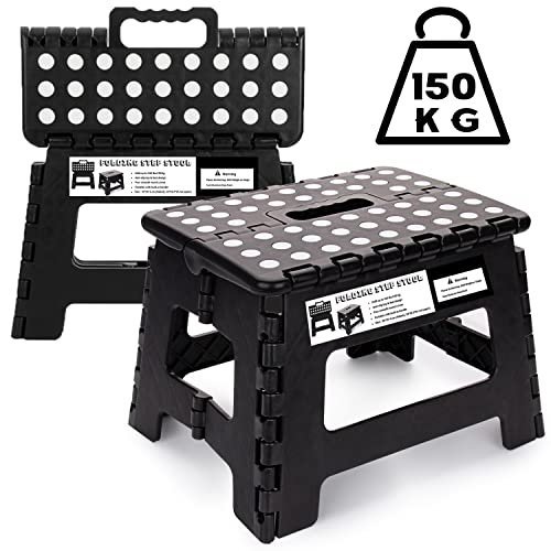 Folding Step Stool 9 inch - Kids Adults Heavy Duty Foldable Plastic Stepping Stool for Kitchen, Bathroom, Garden and Outdoor Activities (Black)