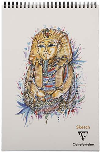 Clairefontaine 975408C Spiralblock, Sketch, 120 Seiten, abnehmbar, Weiß, 22 x 29, 7 cm, 90 g, Toutankhamon