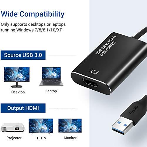 USB zu HDMI Adapter, USB 3.0 zu HDMI Konverter 1080P HD Video Grafik Kabel Adapter mit Audioausgang Kompatibel mit Laptop HDTV TV Windows 7/8/10 (NO MAC, Vista, Linux)