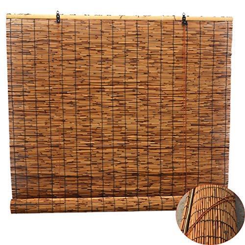 Zlovne Retro Carbonization Natural Schilf Vorhang,Bambusrollo Bambus Raffrollo,Rollo Bambus Handgewebt,Sonnenschutzrollos,Atmungsaktiv,Wand Hauptdekorationen,Außenterrasse (90x100cm/36x39in)