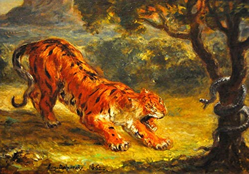 $50-$2000 Hand Painted by College Teachers - 15 Famous Paintings - Tiger and Snake 1862 Eugene Delacroix Beast Animal - Handmade Art Oil Painting on Canvas -04