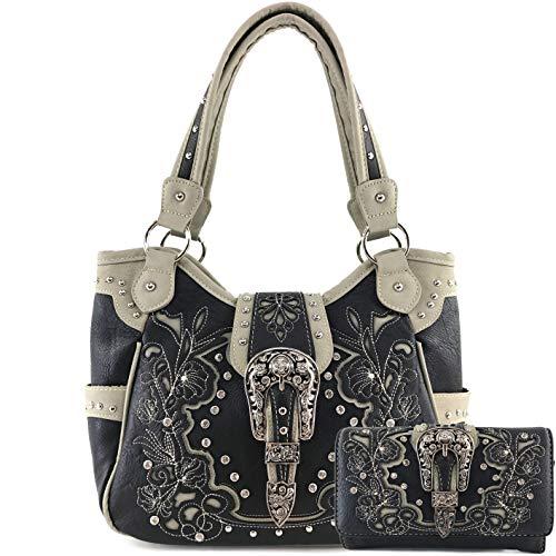 Zelris Western Floral Blossom Buckle Women Conceal Carry Tote Handbag Purse Set (Black)