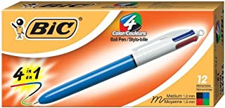 BIC 4-Color Ballpoint Retractable Pen, Assorted Ink, Medium, Pack of 12
