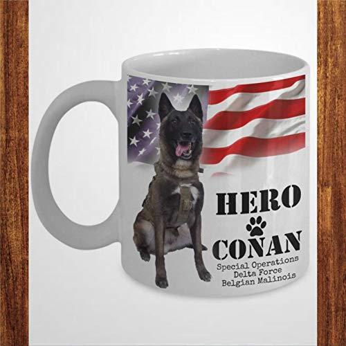 Taza de café, Co-nan Hero belga Malinois Dog,Keeping America,segura divertida taza de café de cerámica regalo para amigos, familiares o compañeros de colega, 450 ml