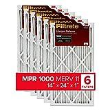 Filtrete 14x24x1, AC Furnace Air Filter, MPR 1000, Micro Allergen Defense, 6-Pack