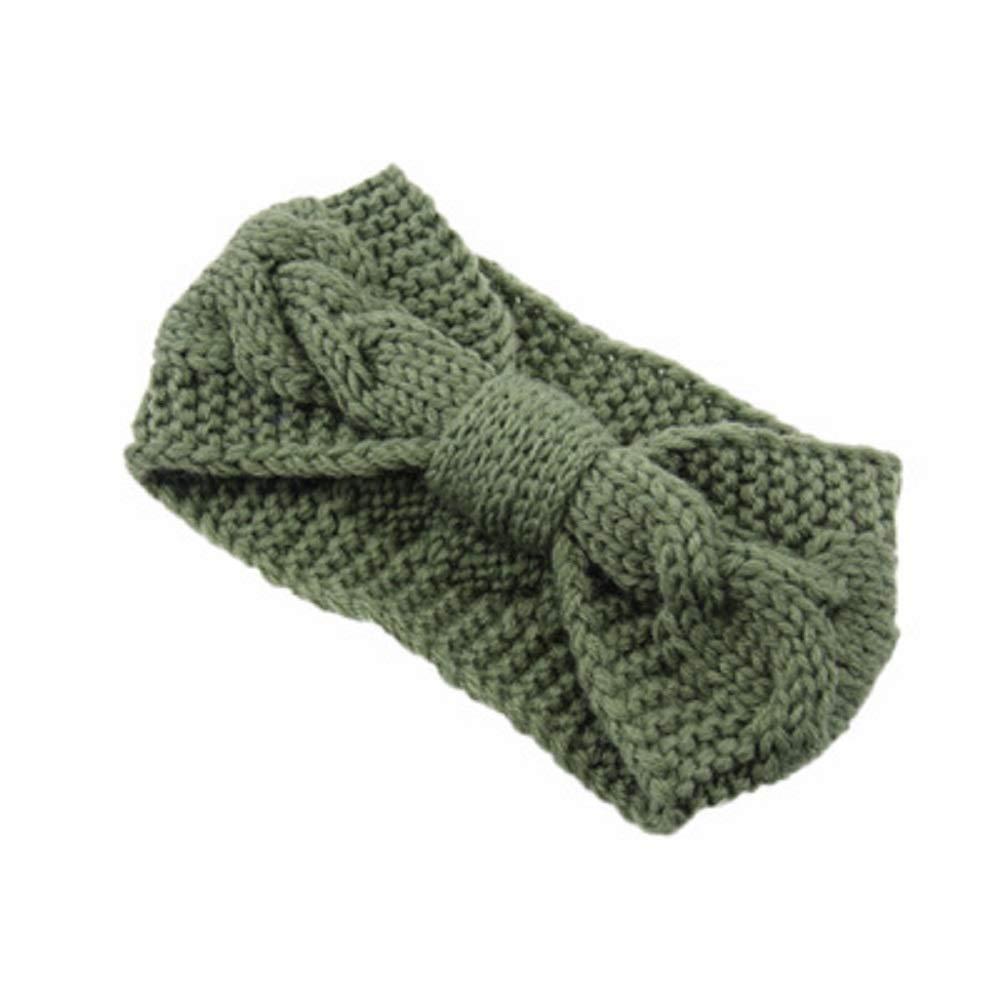 bow knot knitted Headbands Plain Braided Head Wrap Winter Ear Warmer for Women (Green)