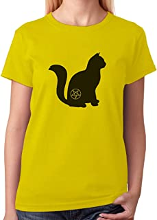 Tstars - Halloween Cat Pentagram Cat Lover Gift Women T-Shirt