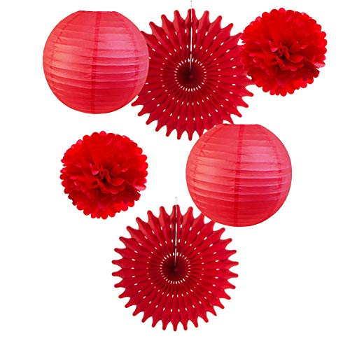 6er Set Papier Laternen Rot Pom Poms Rosetten Party Deko (Rot)