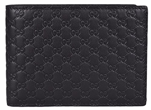 Gucci Men's Micro GG Guccissima Large Leather Bifold Wallet (Black/278596 BMJ1N)