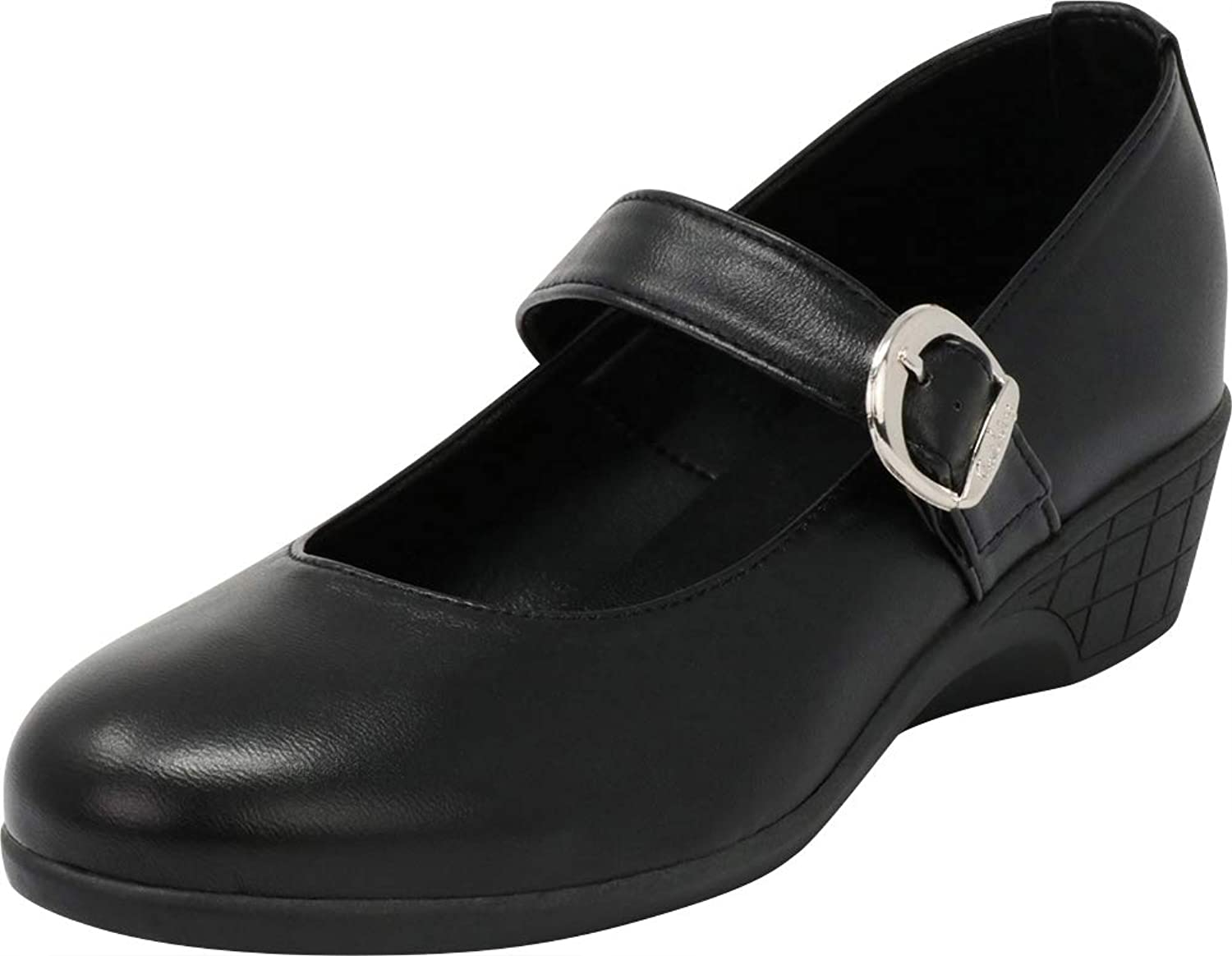 Cambridge Select Women's Closed Round Toe Mary Jane Low Comfort Wedge