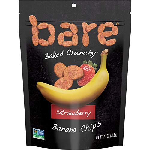 Bare Baked Crunchy Banana Chips, Strawberry, Gluten Free, 2.7 Ounce Bag, 6 Count