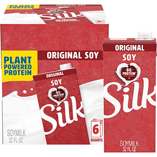 Silk Shelf-Stable Soymilk, Original, Dairy-Free, Vegan, Non-GMO Project Verified, 1 Quart (Pack of 6)