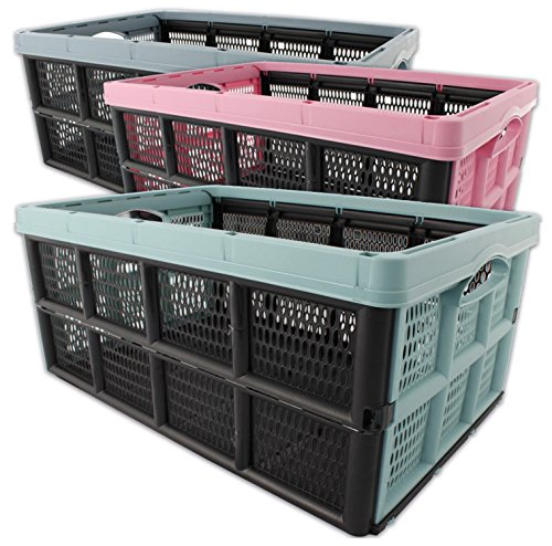 Klappbox Einkaufskorb Aufbewahrungsbox Transportbox faltbar 32 Liter 3 Stück, Farbe:Grau