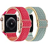 UHKZ 2 Pack Stretchy Solo Loop Compatible with Apple Watch Bands 38mm 40mm 42mm 44mm,Adjustable Braided Sport Elastic Nylon Wristband for iWatch Series 6/SE/5/4/3/2/1,Pomegranate/Sunshine,38/40mm