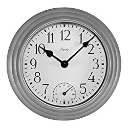 Equity by La Crosse 29007 Outdoor Thermometer & Humdity Wall Clock, 8, Metallic Silver
