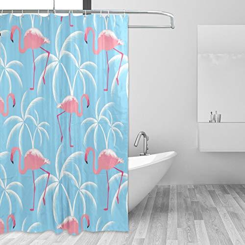 Ahomy Duschvorhänge Flamingos & Tropische Palmen, wasserdicht, Polyester, 182,9 x 182,9 cm, Duschvorhang, mit 12 Haken